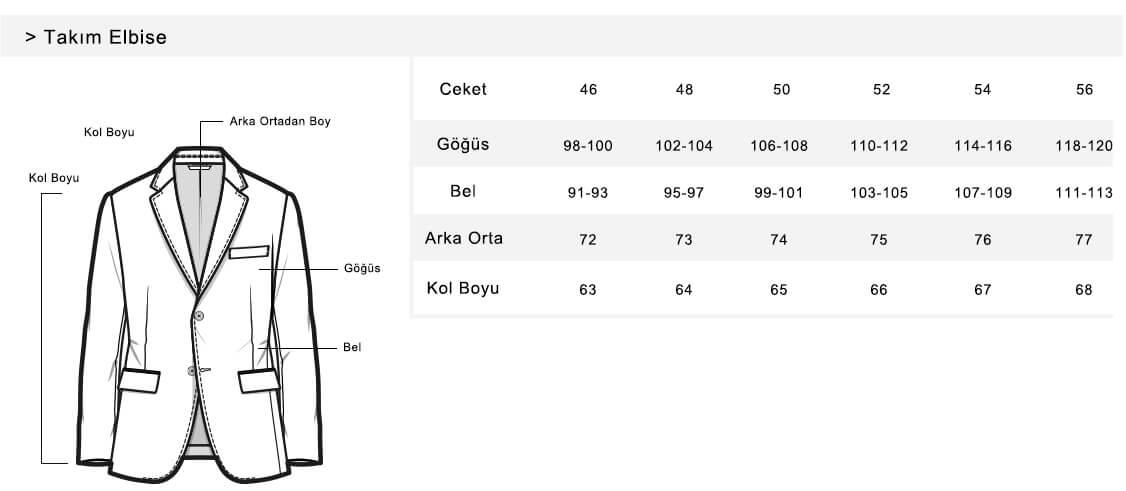 جدول سایز الگوی کت مردانه ترکیه ای